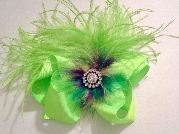 Dance Costume Hair piece, Neon Lime Feather Hair Bow, Mardi Gras Purple Hair Bow, Neon Green Feather Hair Clip, Dance Hair Clip, 7x8 Bow
