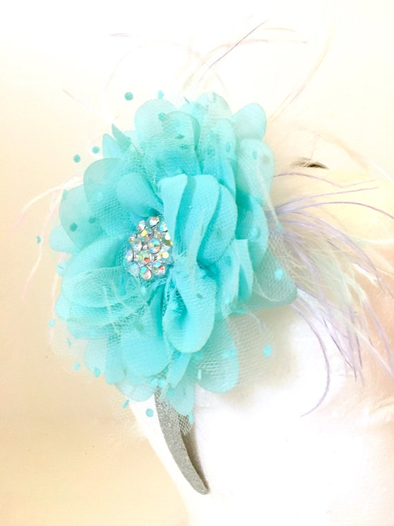 Aqua Flower Headband, Flower Girl Hair Clip, Bridal Headband, All Colors, Aqua, White, Ivory, Lavender, Purple, Pink, Hot Pink Black, Teal