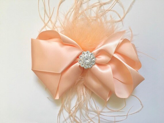 Peach Feather Hair Bow, Peach Hair Clip, Light Coral Hair Clip, Blush Bow, Purple Satin Hair Bow, Feather Hair Clip, Flower Girl Hair clip