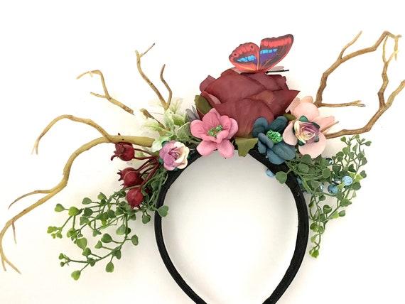 Antler Crown, Flower Crown,Adult Deer Antler Gothic Crown Headband,Flower Crown Adult, Christmas Reindeer Antler Headband, Gold Antlers