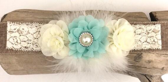 Ivory Headband, Ivory Mint Flower Girl Headband, Marabou Headband, Boutique Baby Headband, Baptism Headband