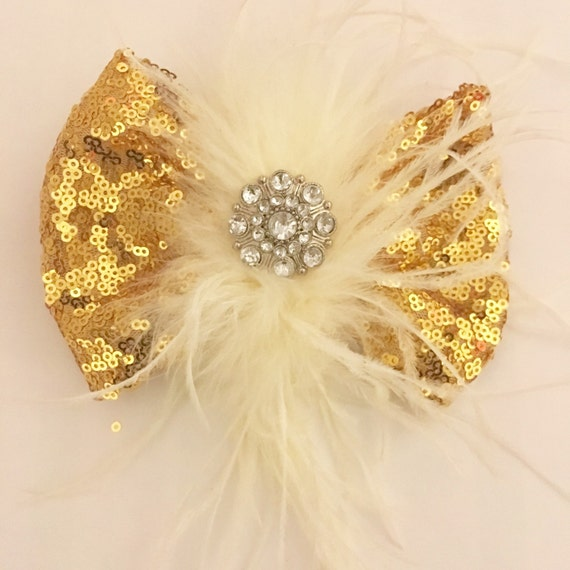 Gold Hair Bow, Gold Sequin Feather Hair Bow, Black Sequin Hair Bow, Blue Sequin Hair Bow, Holiday Hair Bows, Dance Costume Feather Clip