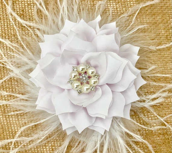 White Floral Hair Clip, Dusty Pink Rose,Taupe, Ivory, Beige, Red, Burgundy Hair Clip, Wedding Brides Maid Flower Girl