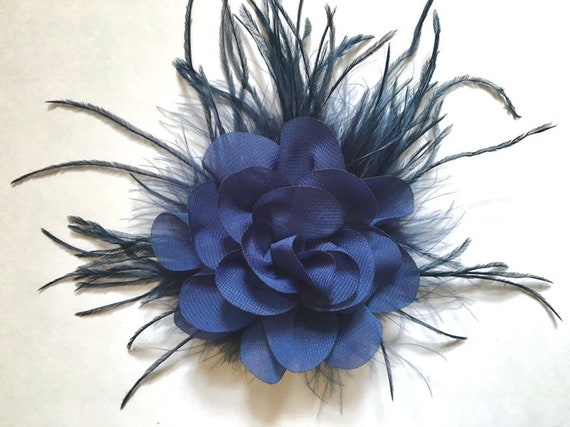 Navy Flower clip Navy Hair Clip, Bridal Fascinator clip, Bridal Hair Clip, Flower Girl Hair Clip, Brides Maid Clip, Wedding Hair Accessories