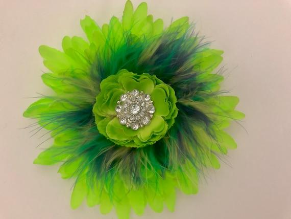 Neon Green Hair Clip, Neon Flower Clip, Rainbow  Flower Clip, Pride Hair Clip, St Patricks Day Hair Clip, Neon Hair Clips,Dance Costume Clip