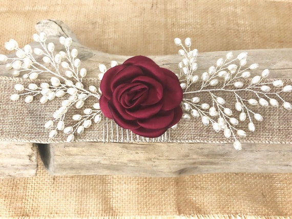 Pearl Hair Comb, Bridal Hair Comb, Floral Hair Comb, Wedding Jewelry, Brides maid Hair piece, Flower Hair Comb, Pearl Hair Vine, Wedding