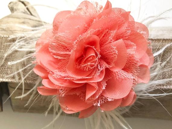 Floral Coral Hair Clip, Peach Feather Clip, Flower Girl Clip, Easter Flower Clip, Bridal Hair Accessories, Flower Clip for girl,