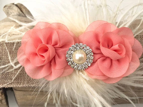 Coral Hair Clip, Blush Flower Clip, Pale Pink Clip, White Floral Clip, Mint Clip,Ivory Clip,Feather Hair Clip, Flower Girl Hair Accessories