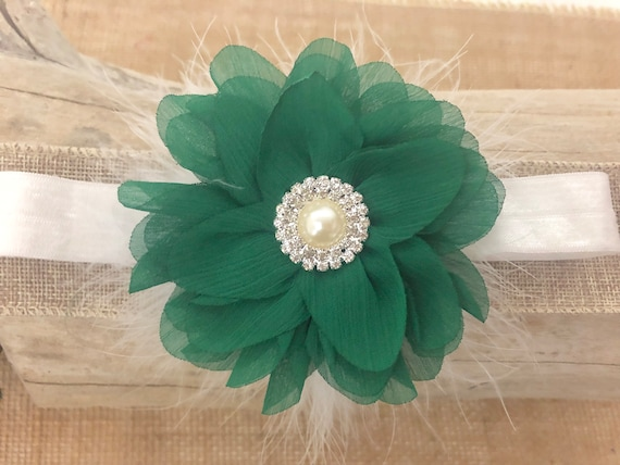 Christmas Headbands for Baby Girl Christmas Baby Hair Bows,Emerald White Flower Clip,Christmas Hair Clip,Emerald Green Bow, Green and White