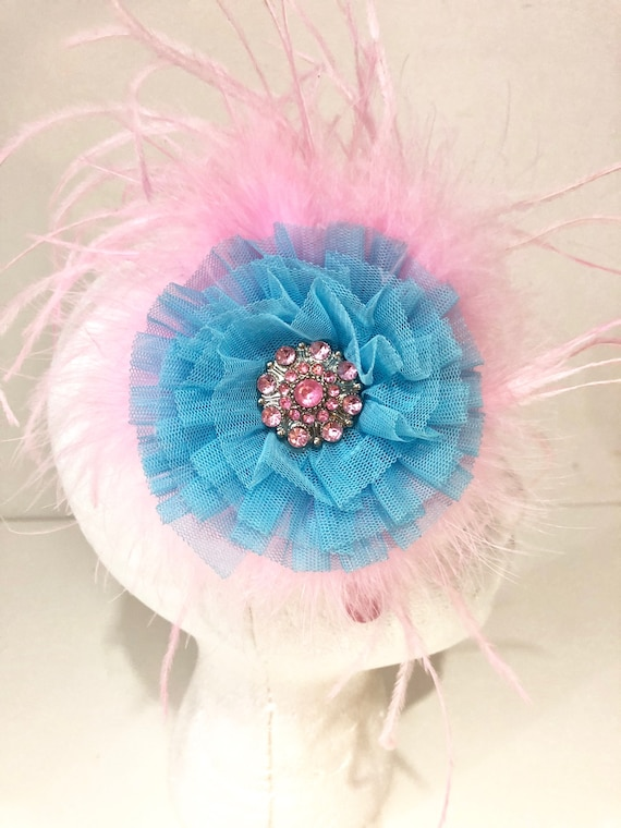 Blue Pink Flower Feather Fascinator Headband. Flower Feather Fascinator Headband, Light Blue Flower Headband,Fancy Girl BoutiqueNYC.