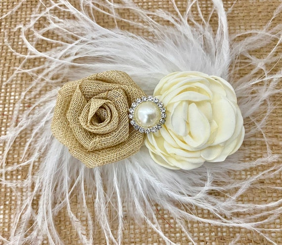 Fabric Floral Clip, Ivory Beige Fabric Flower clip, Woodland Fairy Hair Clip, Flower Clip, Burlap Ivory Clip, Woodland Clip, Ivory Clip