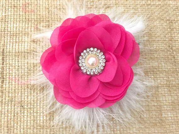 Flower Girl Hair Accessories,Floral Chiffon  Hair Clips, Pink,White, Ivory, Dusty Pink Rose Chiffon Pearl Hair Clips, Floral Hair Clips