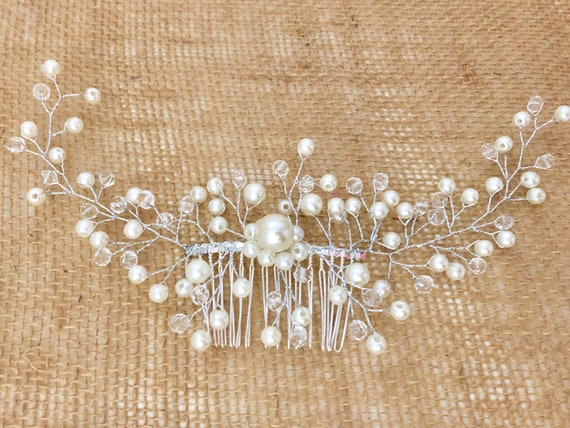 Pearl Hair Comb, Bridal Hair Comb, Wedding Crown, Crystal Hair Comb, Wedding Hair Jewelry,Crystal Crown, Bridal Rhinestone Hair comb