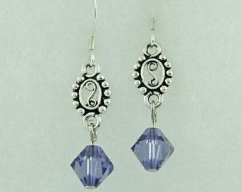 Purple swarovski crystal earrings, purple earrings, crystal earrings, swarovski earrings, simple earrings, gifts for her