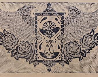 Grateful Dead ~ Linoleum Block Print ~ 50th Anniv... Fare Thee Well