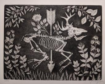 Deer Skeleton Print - Copper Etching and Aquatint