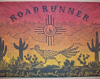 Road Runner ~ Linocut Block Relief Print