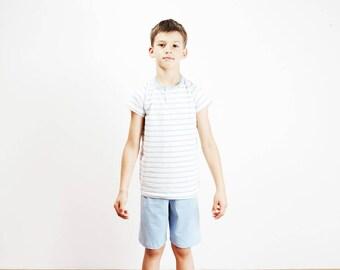 Kinder Pyjama Bio Baumwolle blau weiss gestreift,Kinder  Schlafanzug,Kinderschlafanzug,Jungs Schlafanzug,Nachtwäsche Junge,Kurzarm  Schlafi 11747721c9