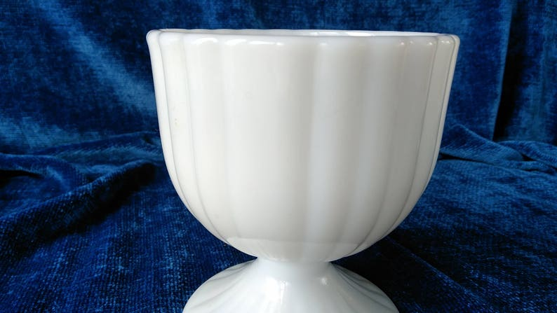 Milk Glass Compote Vertical Lines Candy Dish 4 58 Pedestal Comport or Planter