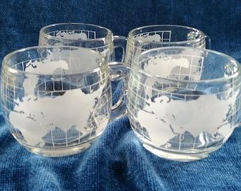 Nestle Chocolate World Globe Glass Mugs/Set of 4  Nestle's Chocolate Mugs