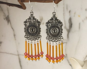 Gold, Rose & Orange Earrings .:. Summer Glow Chandelier Tube Bead Filigree Earrings - Graduation Gift