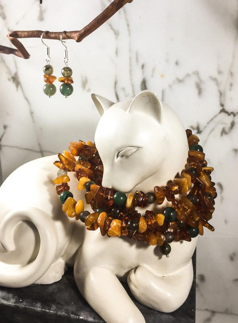 Reiki Charged Labradorite /& Amber Bracelet  Earring Set .: Emerald One of a Kind Healing Stones