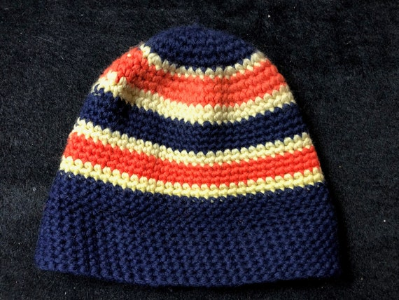 Vintage Hand Knit Wool Blue Beanie with Orange and
