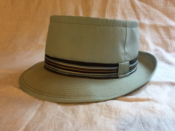 671fd6dddb5 Vintage Sears Blue Turquoise Sporty Pork Pie Trilby Style Hat