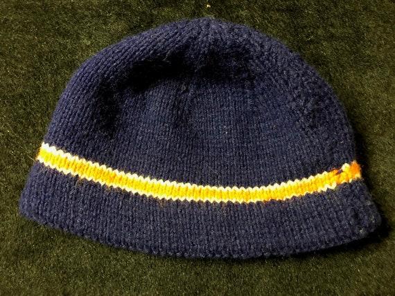 Vintage Hand Knit Wool Blue Beanie with Orange Str