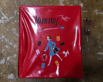 Vintage 1960s Red Vinyl Tammy by Ideal Travel Case