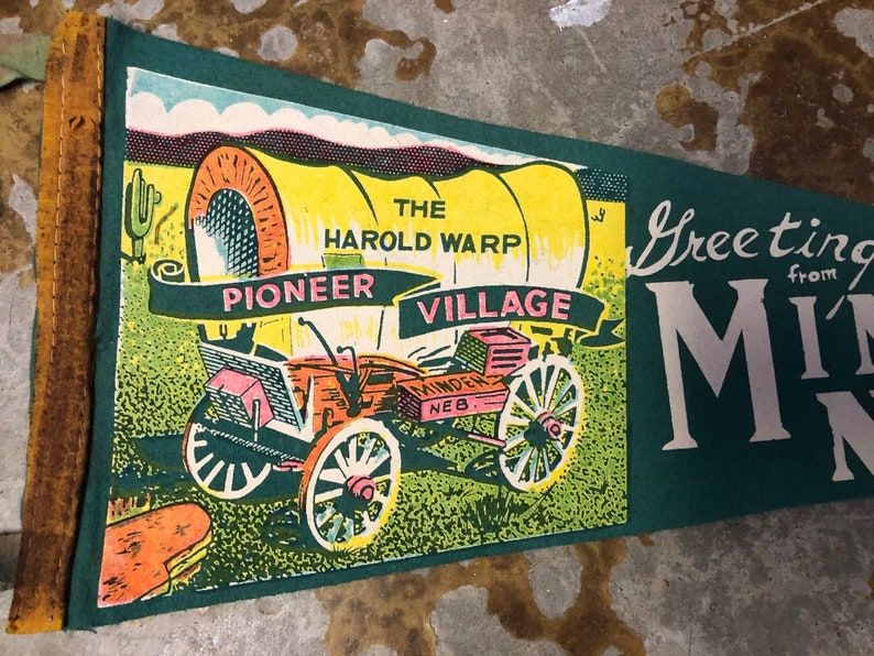 Good Condition Vintage Minden Nebraska Pioneer Village 1960s Pennant