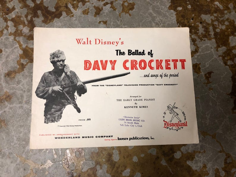 Vintage Walt Disney's The Ballad of Davy Crockett and Songs of the Period,  From the Disneyland Television Production Piano Music 1955