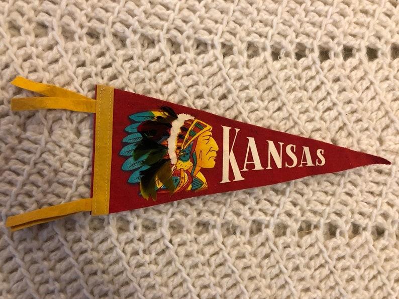 Vintage Kansas Chief 1950s Mini Pennant Good Condition