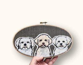 OVAL Dog or Cat Portrait. Custom Pet Portrait. Embroidery Hoop Art. Pet Lovers. Gift for Pet Lovers