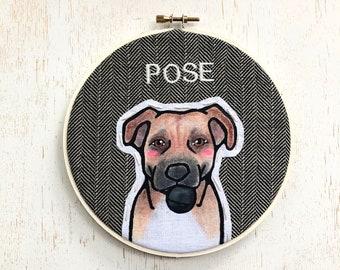 Custom Dog Portrait & TOY. Custom Portraits. Pet Portrai. Embroidery Hoop Art. Pet Lovers. Gift for Pet Lovers