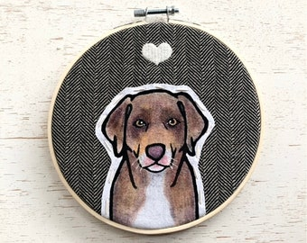 Pet Portrait with Heart. Personalized Embroidered Pet Portrait. Custom Pet Memorial. Gift for Pet Lovers