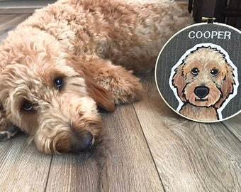 LARGE Custom Dog Portrait. 8 Inch Embroidery Hoop. Custom Portraits. Dog Portrait. Embroidery Hoop. Pet Lovers. Gift for Pet Lovers