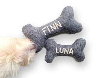 Dog Toy - Personalized Pet Toy with Embroidered Name - Durable Dog Toys - Squeaky Toy - Personalized Pet Gifts