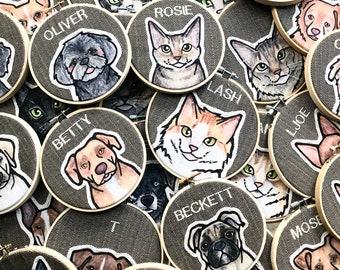 Custom Pet Portrait. Personalized Pet. Dog or Cat Portrait. Pet Portraits. Custom Embroidery. Gift for Pet Lover. Embroidered Pet Portrait