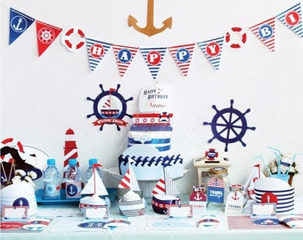 Nautical Party Kit Digital printables. Complete Set Party Printables. DIY Nautical birthday party template. Nautical Baby Shower Printables