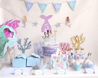 Mermaid Party Kit Digital Printables. DIY Mermaid Party Set. Complete Mermaid birthday party set. The Little Mermaid party decor Digital PDF