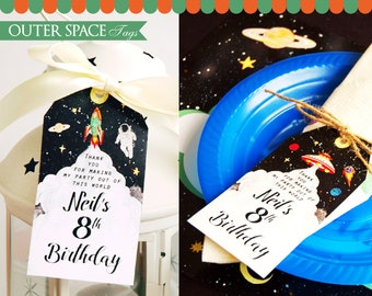 Outer Space Favor Tags Printable. Astronaut party tags. Space Party Thank You Tags. Rocket Tags. Galaxy Tags. UFO party tags. DIGITAL PDF