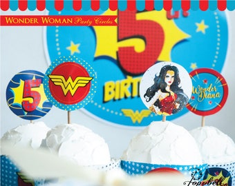 Wonder Woman Party Circles printable. Wonder Woman Cupcake Toppers. Wonder Woman Birthday. Superhero Party. Wonder Woman Party. Personalized