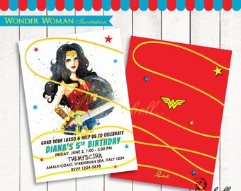 Wonder Woman Invitation Printable for 2017 Wonder Woman birthday party. Gal Gadot Invitation Printable for Wonder Woman Party. Digital PDF