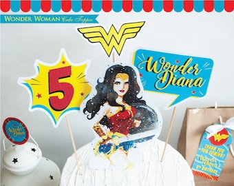 Wonder Woman Cake Topper printable. Wonder Woman Birthday. Wonder Woman Centerpiece. Girl Superhero Party. Wonder Woman printable. DIGITAL