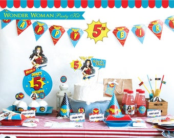Wonder Woman Party Kit. Complete Wonder Woman Party Printable. 2017 Wonder Woman birthday party kit. Girl Superhero Party Set. DIGITAL PDFs