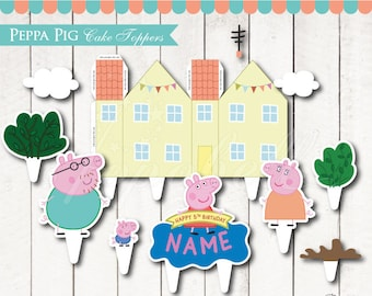Peppa Pig Cake Topper Printable. Peppa Pig Birthday. Peppa Pig Party. Peppa Pig House. DIY Printable Peppa Pig Centerpiece. DIGITAL
