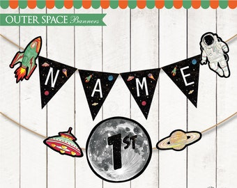 Outer Space Banners Printable. Astronaut birthday. Boy Space Party. Universe Rocket Banners. Space Rocket ship Bunting. DIGITAL PDF