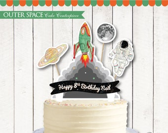 Outer Space Cake Topper Printable. Outer Space Birthday. Outer Space Party. Astronaut Party. DIY Universe Galaxy Cake Centerpiece. DIGITAL