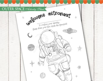 Outer Space Coloring Sheet Printable for Outer Space Birthday. Space Activity Sheet. Astronaut Party. Kids Coloring Page. INSTANT DOWNLOAD